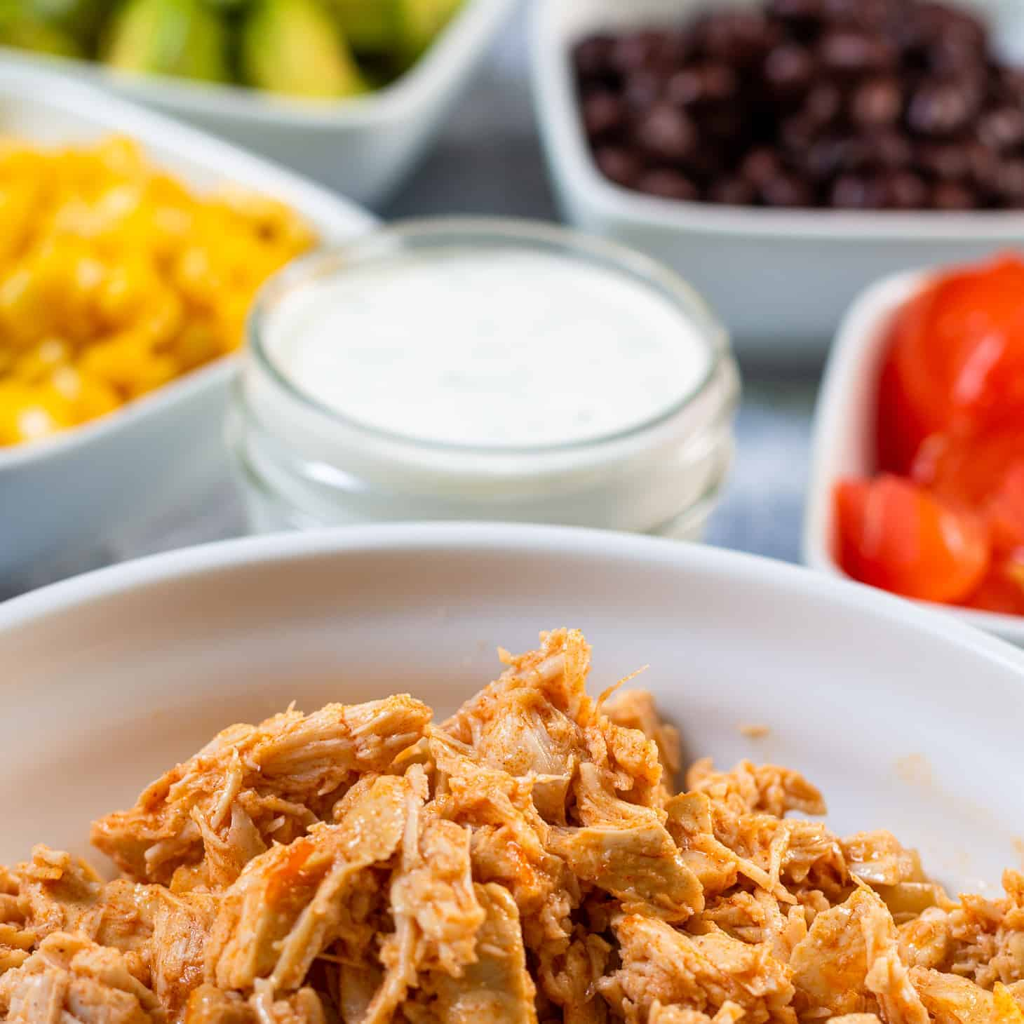 Ingredients for the loaded Buffalo Chicken Salad