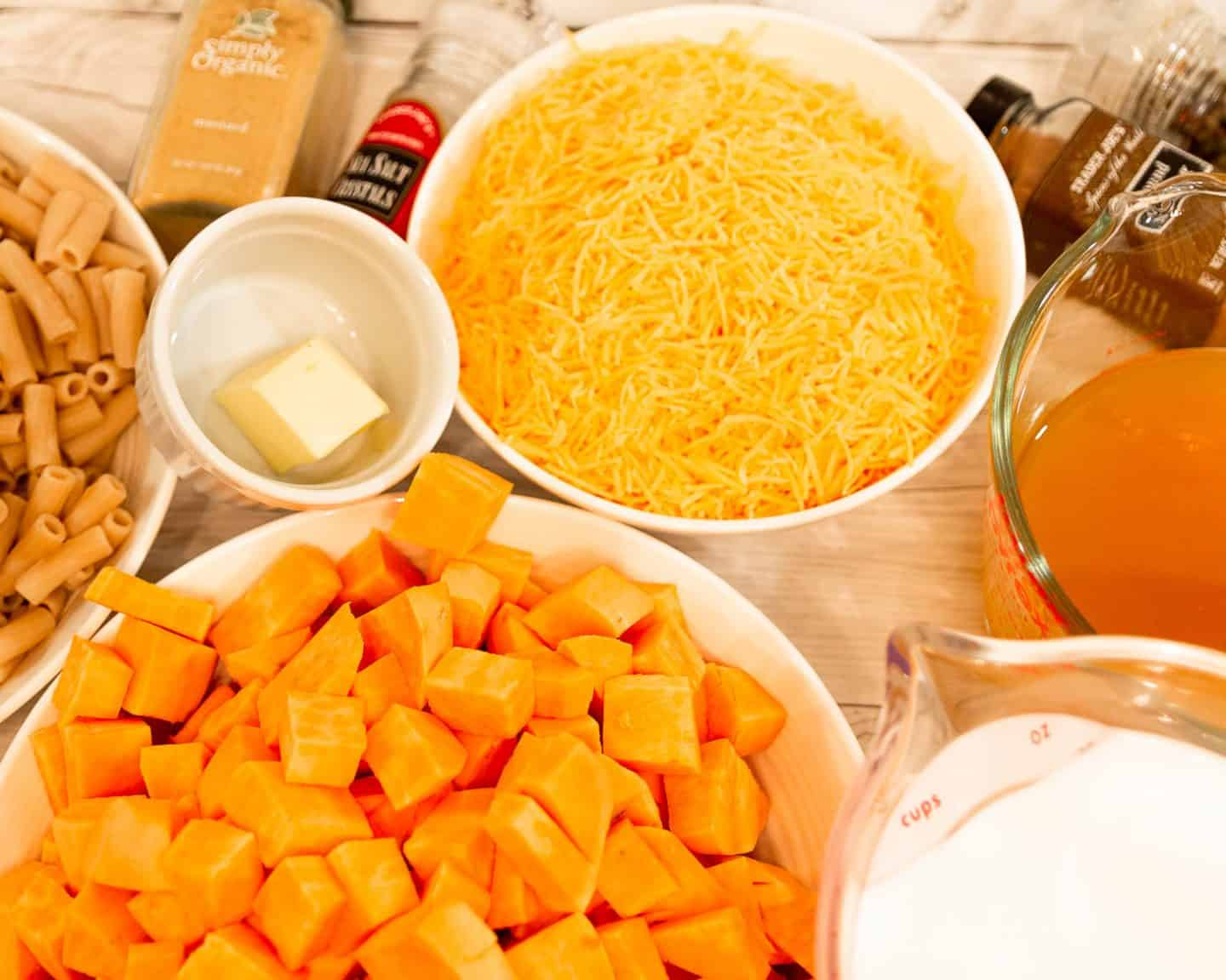 Ingredients for Making Butternut Squash Mac and Cheese
