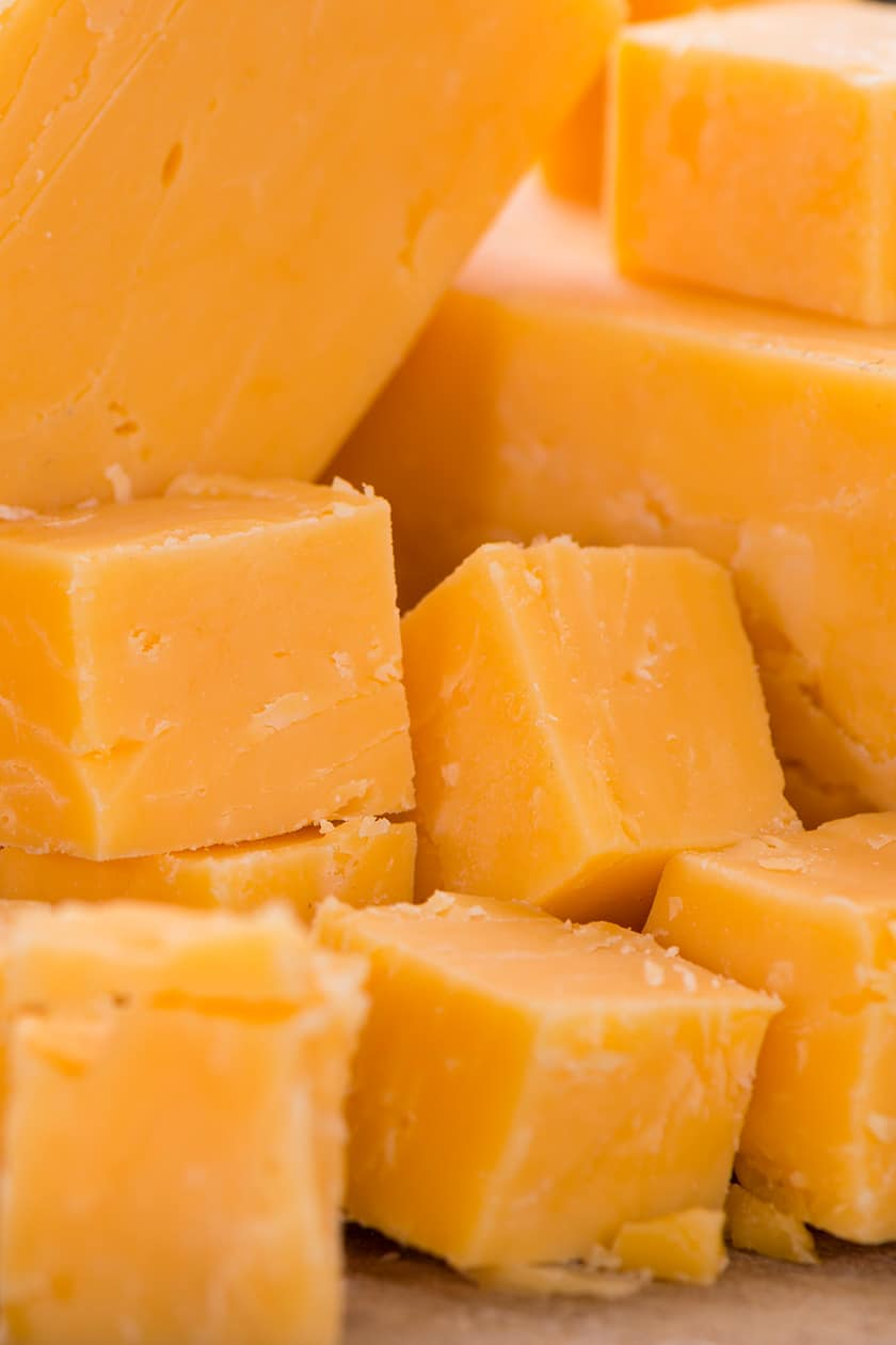Cubed Cheddar cheese