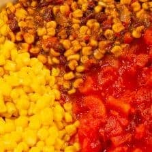 Gluten free Cowboy Caviar Casserole with cowboy salsa, corn, tomatoes #glutenfree #glutenfreerecipe #vegetarian #simplemeal #simpleglutenfreedinner
