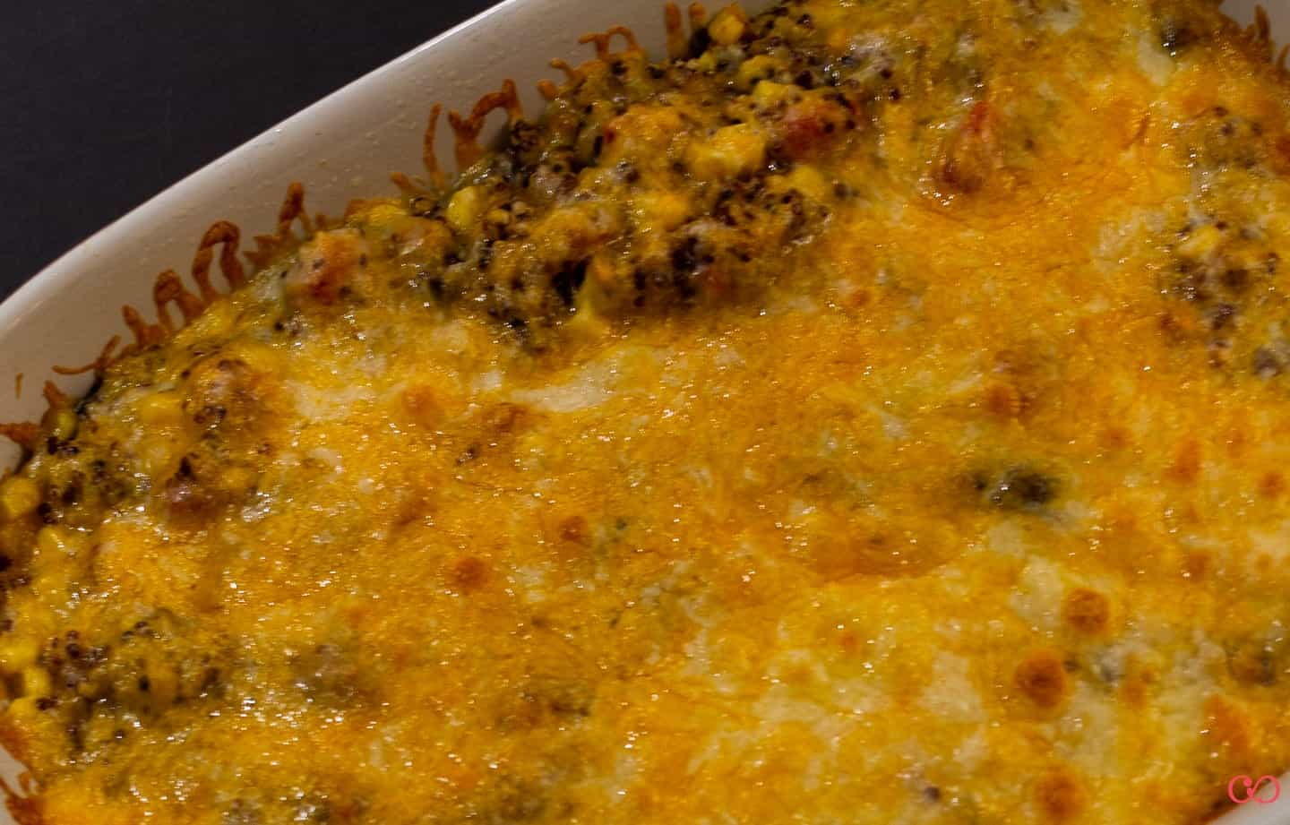 Gluten free Cowboy Caviar Casserole - fresh out of the oven