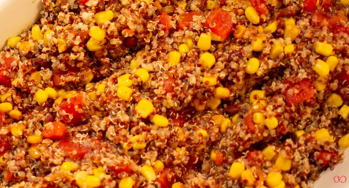 Gluten free Cowboy Caviar Casserole - ready for the oven