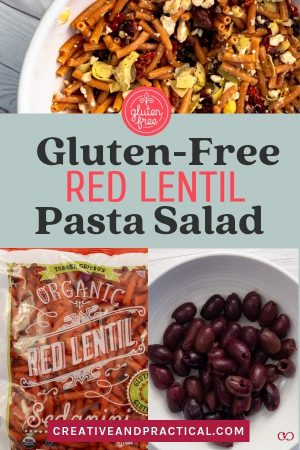 If you are new to the gluten free life or if you're a seasoned gluten free cook, try the Red Lentil Pasta salad. It's a super nutrious salad that takes no teime to prep. The Red Lentil Pasta is from Trader Joe's, but other brands carry similar products. #glutenfreepasta #glutenfreepastsasalad #traderjoes #redlentilsalad #creativeanpractical #easyandglutenfree