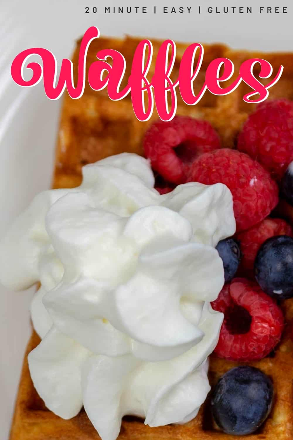Belgian Waffles, gluten free topped with fresh berries