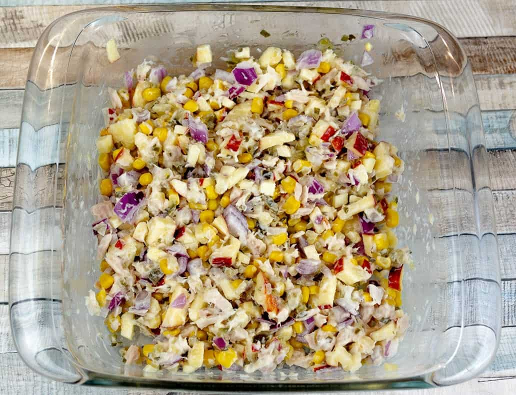 The tuna salad is mixed and ready to serve. Super quick and simple.