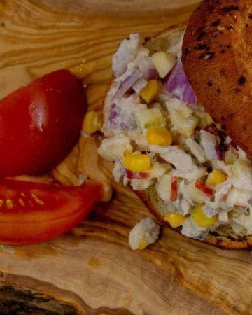 Super Simple Tuna Salad Sandwich recipe on served on a gluten free bagel.