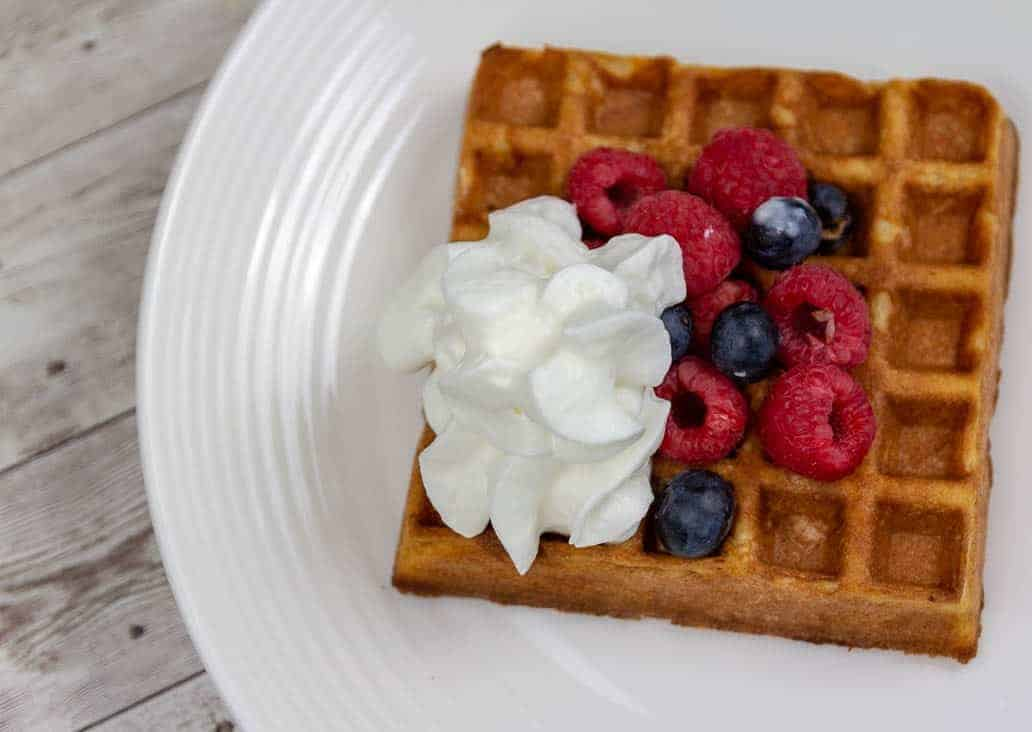 Gluten Free Waffles with Blueberries and Raspberries