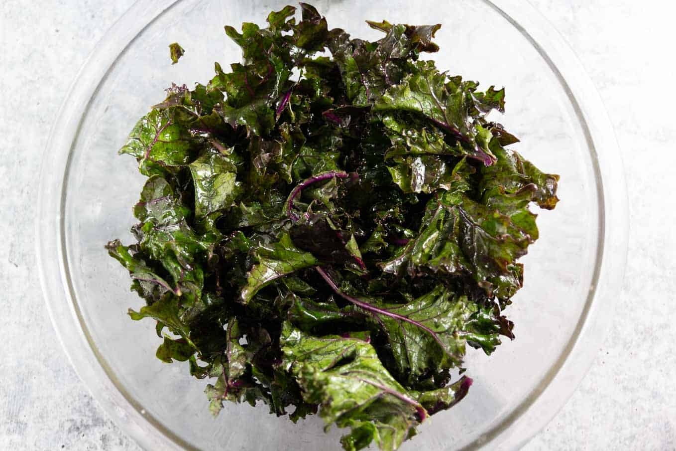 Kale massaged with a tablespoon of olive oil.