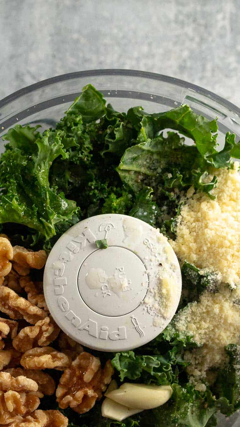 Food processor including green kale, walnuts, garlic, and parmesan cheese