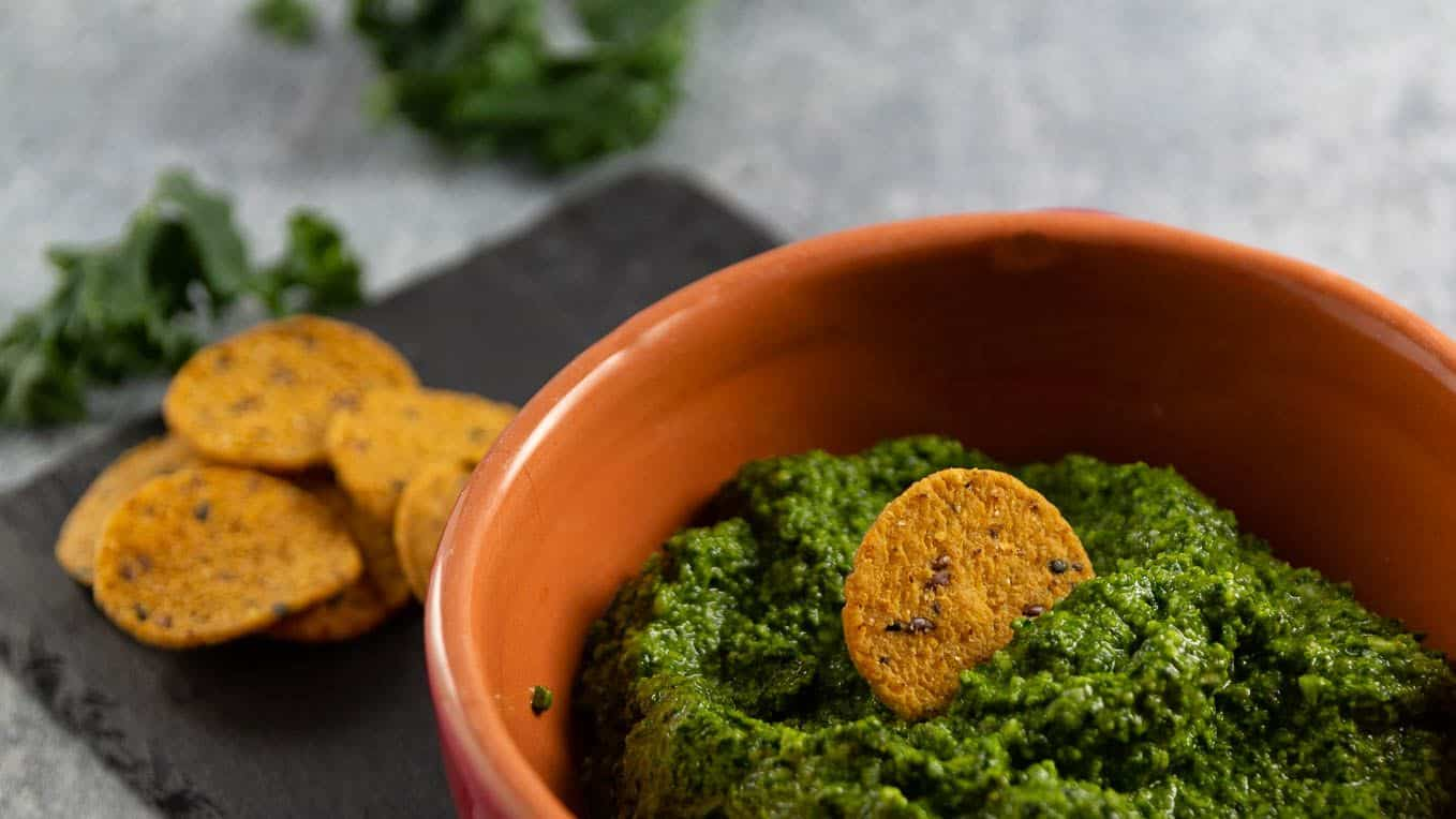 Kale Pesto here served as a dip with gluten free sweet potato crackers.
