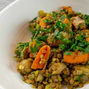 Lentil stew with chicken sausage.