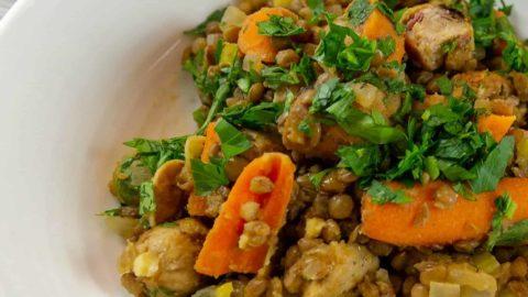 Lentil stew with chicken sausage.