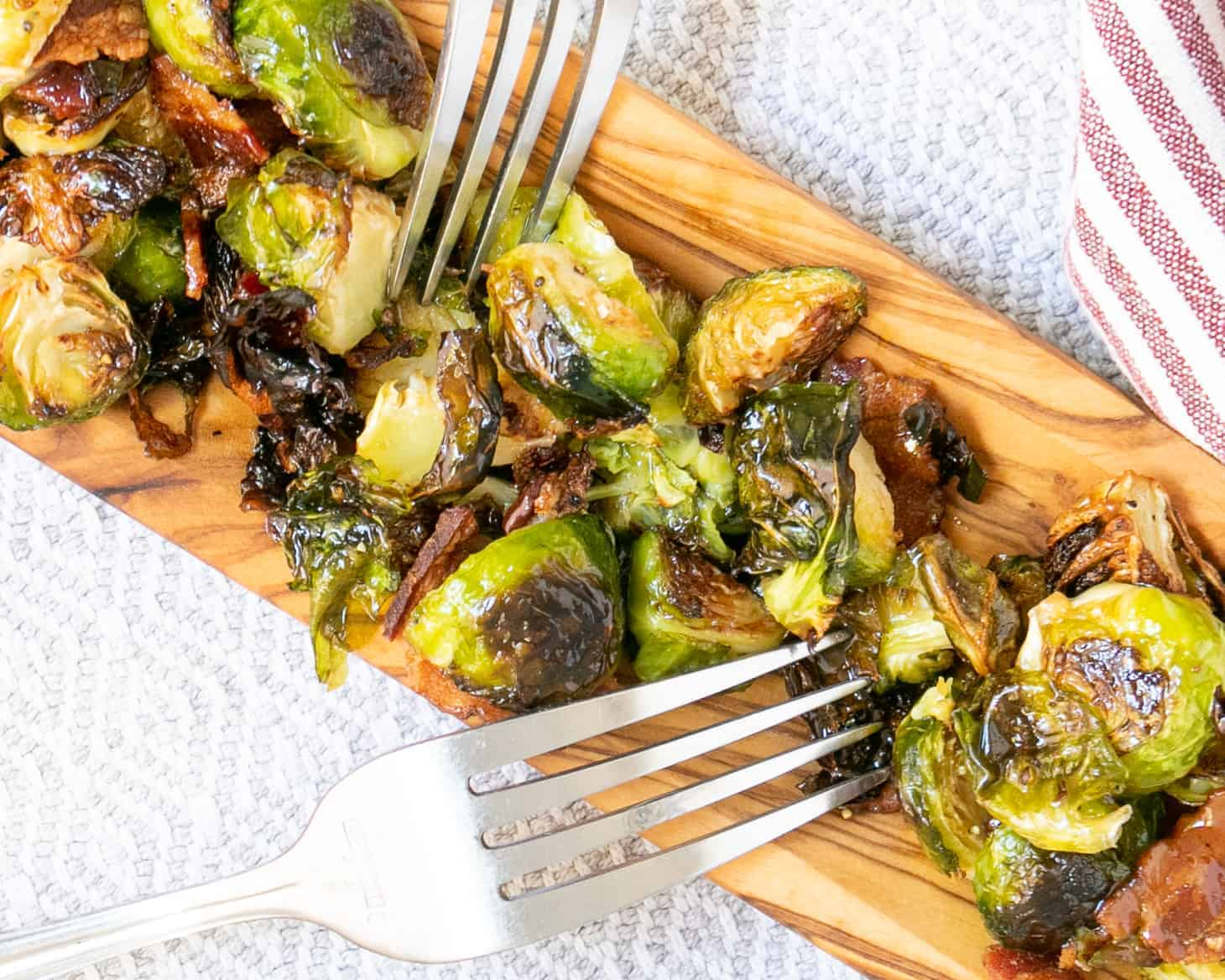 A plate of Maple Butter Brussels Sprouts with Bacon