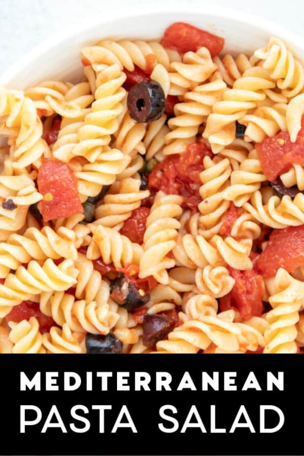 A bowl full of Mediterranean Pasta Salad