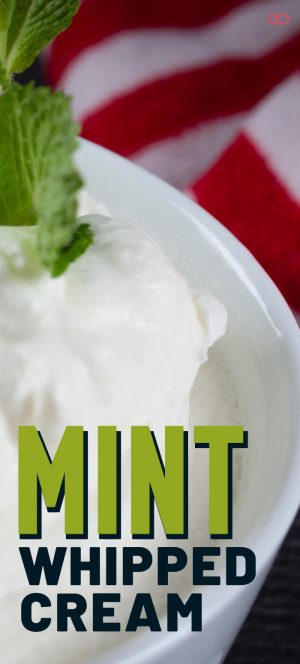Mint Whipped Cream with a sprig of fresh mint