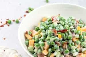 A bowl of old-fashioned, creamy pea salad