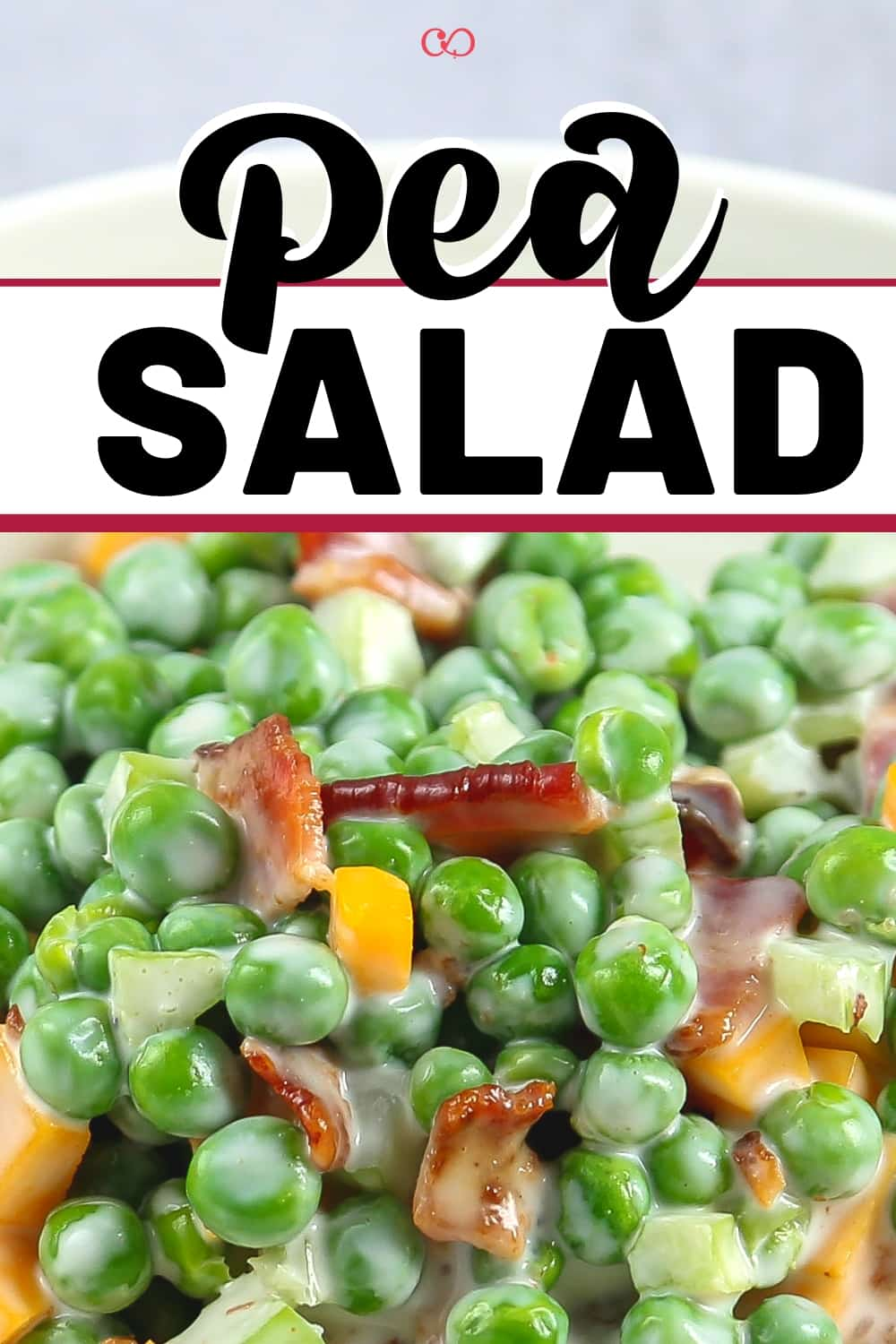 A bowl of creamy Pea Salad with Bacon (Gluten-Free)