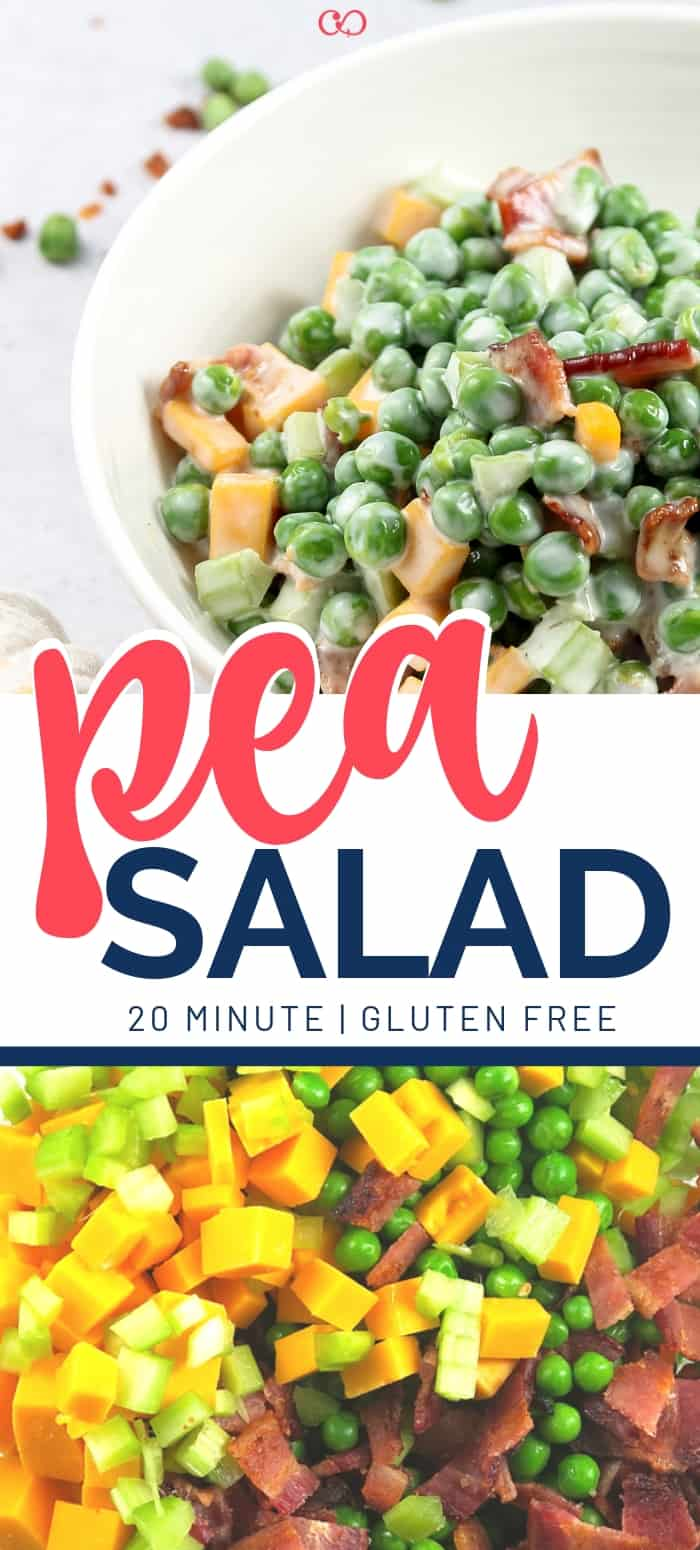 Pea Salad made with organic peas (Trader Joe's), bacon, celery, and Cheddar cheese