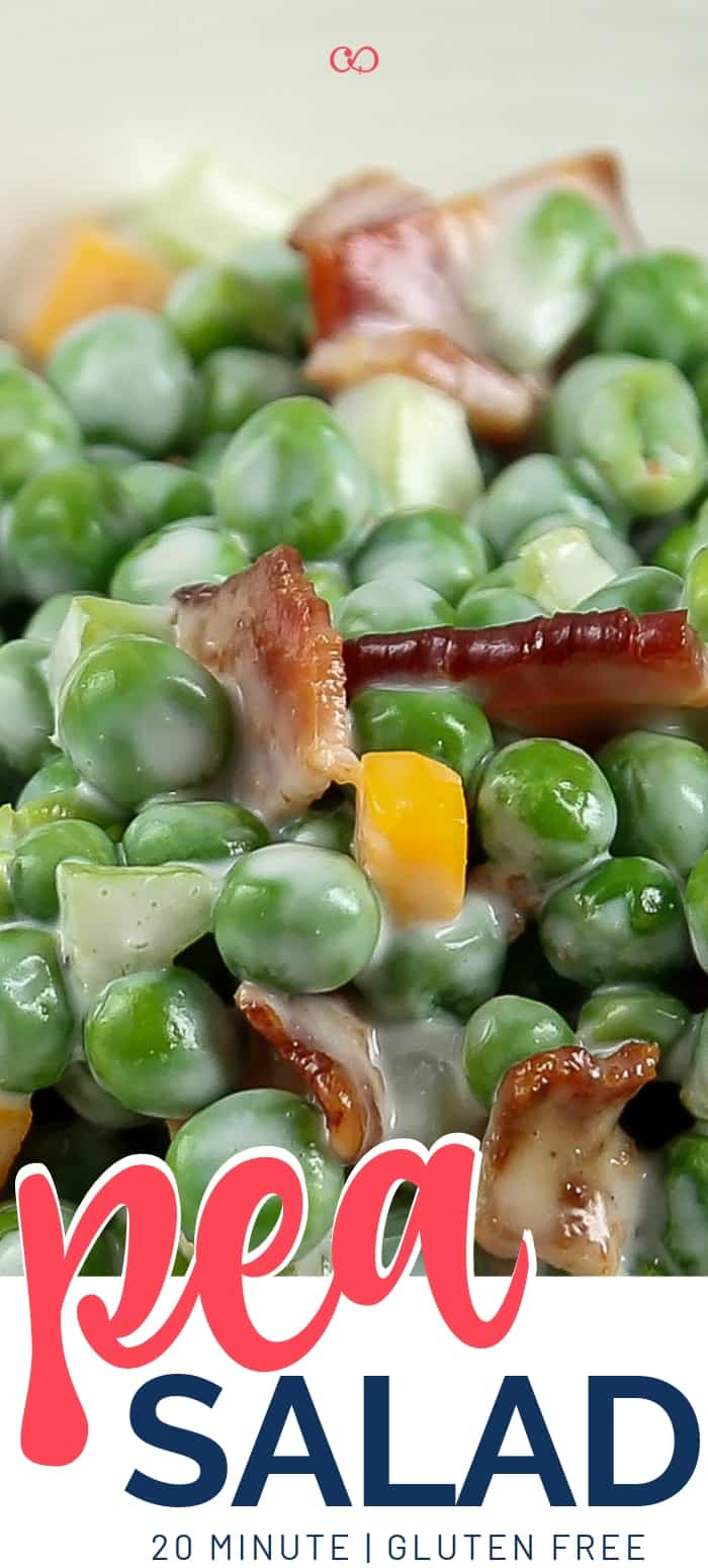 Classic, creamy Pea Salad with Bacon (Gluten-Free)