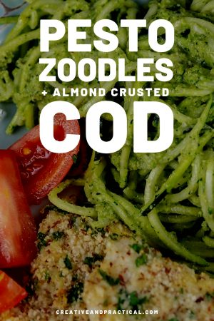 Pesto Zoodles with Almond Crusted Cod