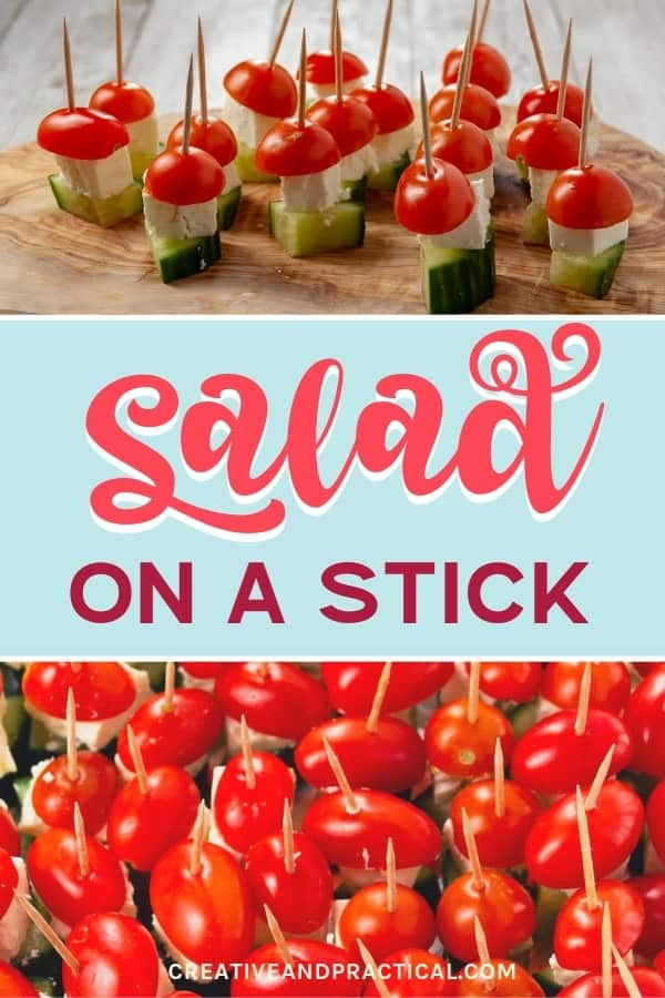 Cucumber, Feta cheese, and tomato make this insanely delicious 'Salad On A Stick' cold appetizer.