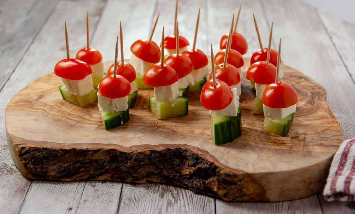 Cucumber, Feta, and Tomato make perfect little Salad On A Stick.