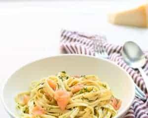 A bowl of Smoked Salmon Pasta