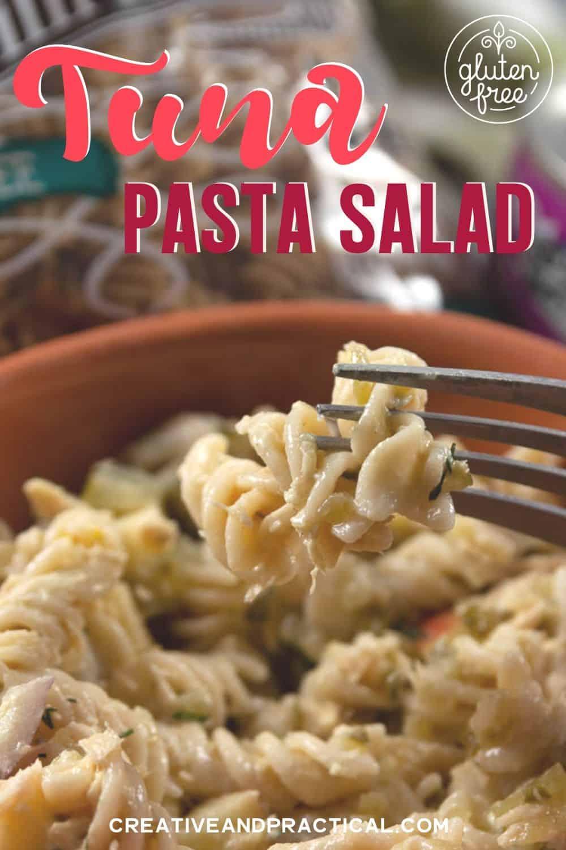 A bowl full of gluten free tuna pasta salad. Ready to eat!