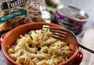 Ready to Eat! A bowl of the best tuna pasta salad.