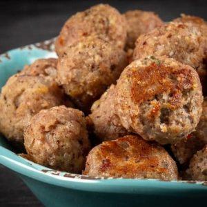 A bowl of turkey meatballs (gluten free)
