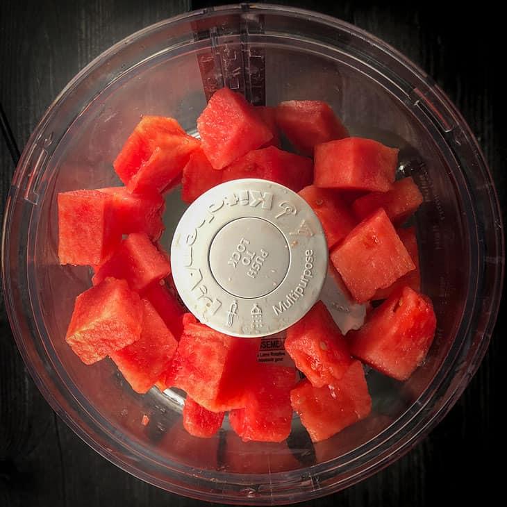 fresh watermelon, cubed in a food processor
