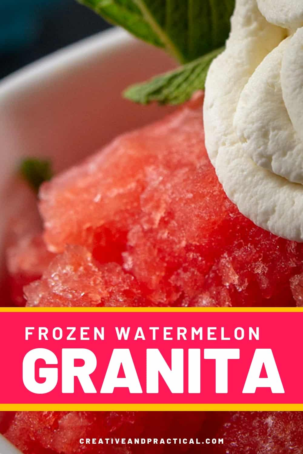 Frozen Watermelon Granitas topped with mint whipped cream