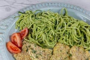 Zucchine Noodles with Almond Crusted Cod